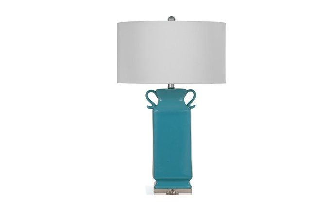 Table Lamp-Turquoise Square Creamic - 360