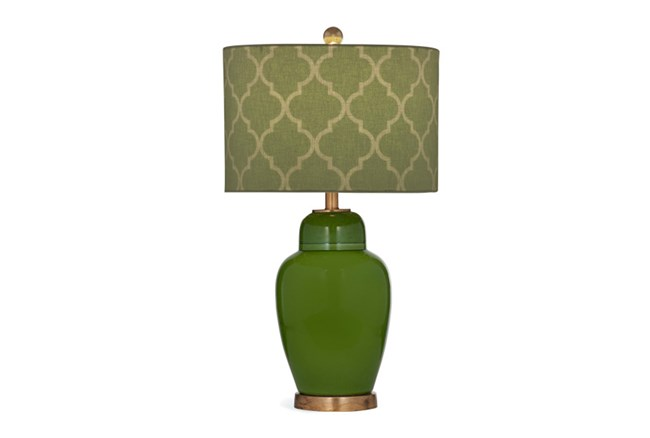 Table Lamp-Green Quatrefoil Shade - 360
