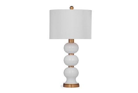 Table Lamp-Gold And White Glass