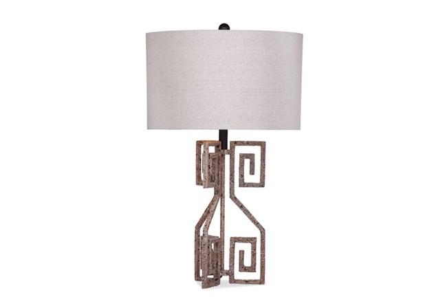 Table Lamp-Aged Metal Greek Key - 360
