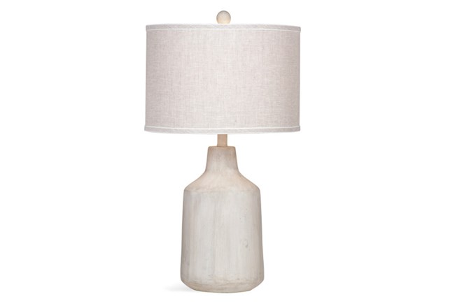 Table Lamp-Concrete Drum With Linen Shade - 360