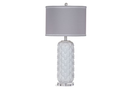 Table Lamp-White Scalloped Grey Shade