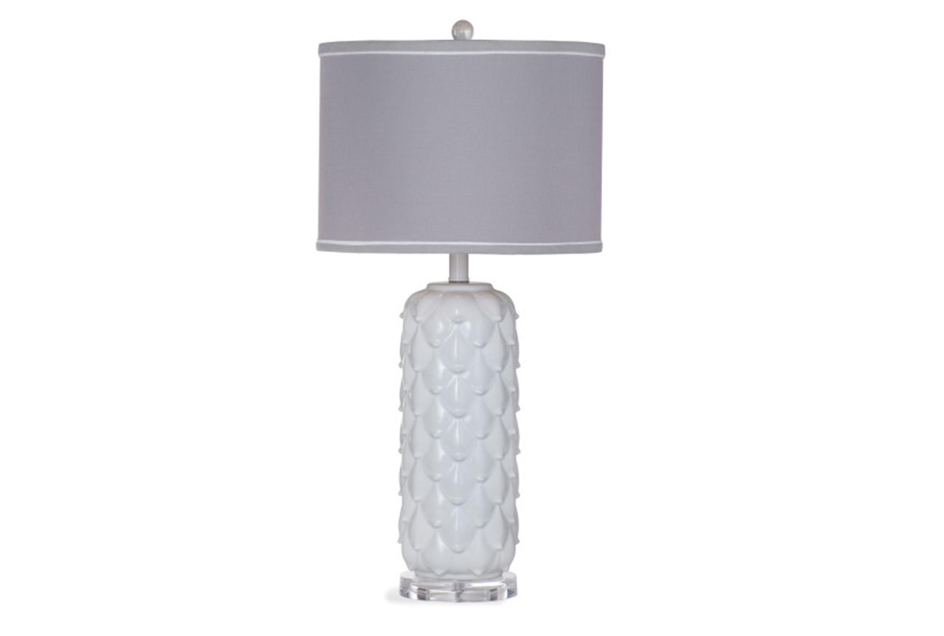 Table Lamp White Scalloped Grey Shade   360