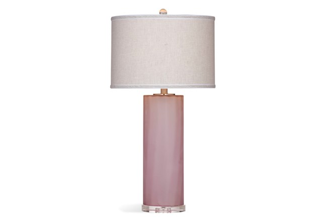 Table Lamp-Frosted Pink Glass Column - 360