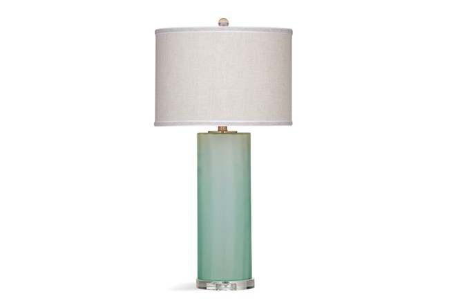 sea glass table lamps table lamp frosted seaglass column living spaces 5091
