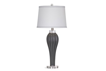 Table Lamp-Grey Glass Fluted