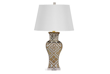 Table Lamp-Black Greek Key Column