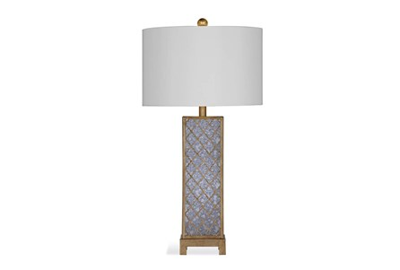 Table Lamp-Gold Leaf Antique Mirror Clover Column