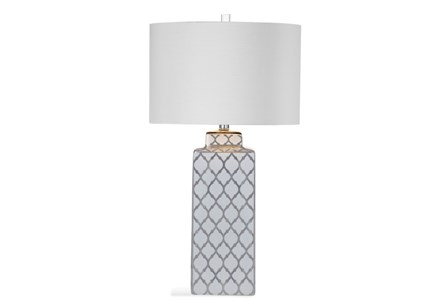 Table Lamp-Silver Clover Square Column