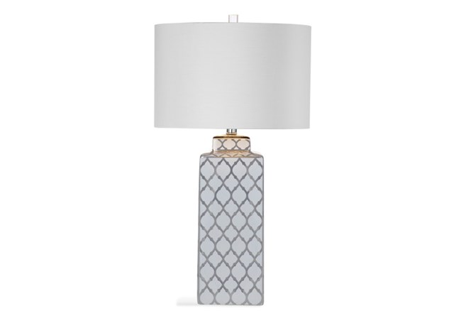 Table Lamp-Silver Clover Square Column - 360