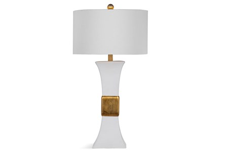 Table Lamp-Gold Banded White