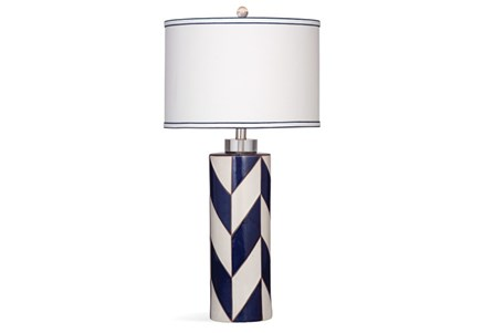 Table Lamp-Indigo Herringbone