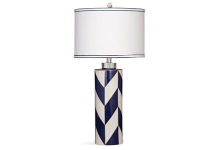 Table Lamp-Indigo Herringbone