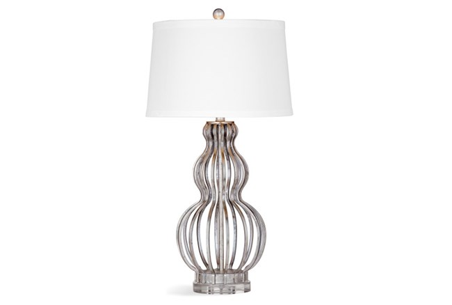 Table Lamp-Silver Leaf Caged Cord - 360