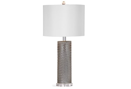 Table Lamp-Mercury Glass Basketweave
