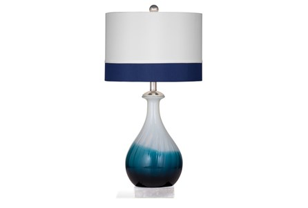 Table Lamp-Cobalt Ombre Banded Shade