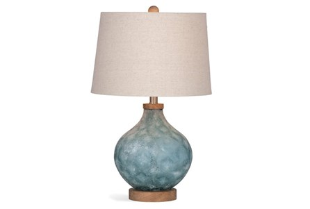 Table Lamp-Blue Frosted Glass With Wood