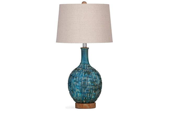 Table Lamp-Turquoise And Wood - 360