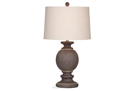 Table Lamp-Grey Wood Bulb