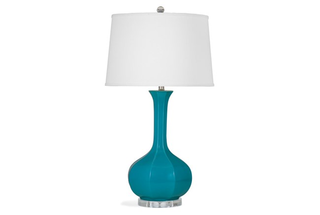Table Lamp-Turquoise Fluted Bulb - 360