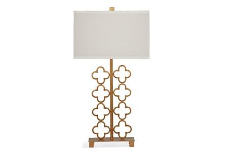 Table Lamp-Gold Quatrefoil Screen