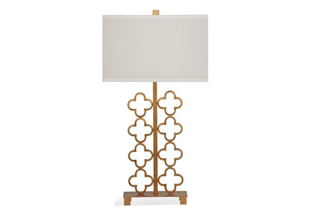 Table Lamp-Gold Quatrefoil Screen - 360