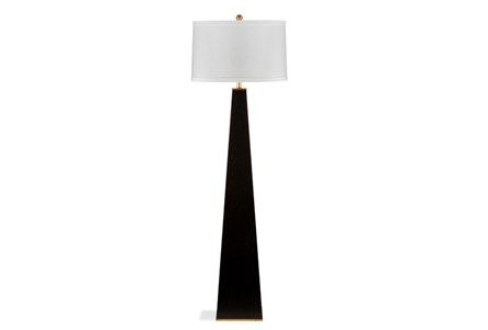 Floor Lamp-Glossy Black Pyramid