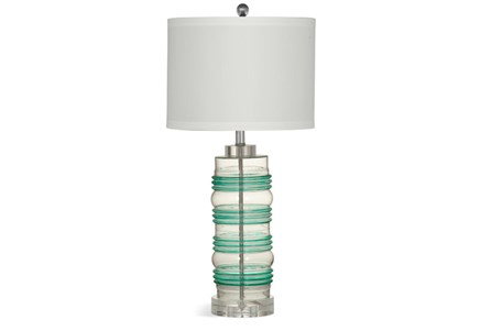 Table Lamp-Green And Clear Glass Ring