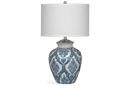 Table Lamp-Blue Damask