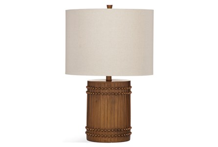 Table Lamp-Wood Barrel