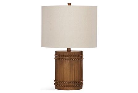 Table Lamp-Wood Barrel