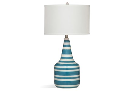Table Lamp-Turquoise Stripe