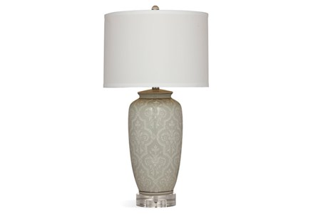 Table Lamp-Grey Damask