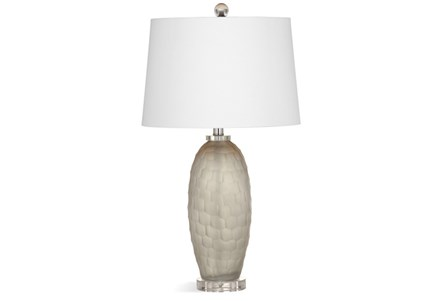 Table Lamp-Grey Frosted Glass Scalloped