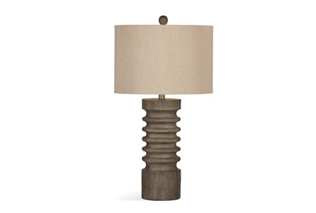 Table Lamp-Grey Wash Wood Column