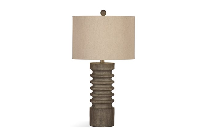 Table Lamp-Grey Wash Wood Column - 360
