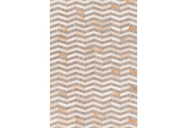 60X90 Rug-Viscose/Hide Chevron Taupe - 360