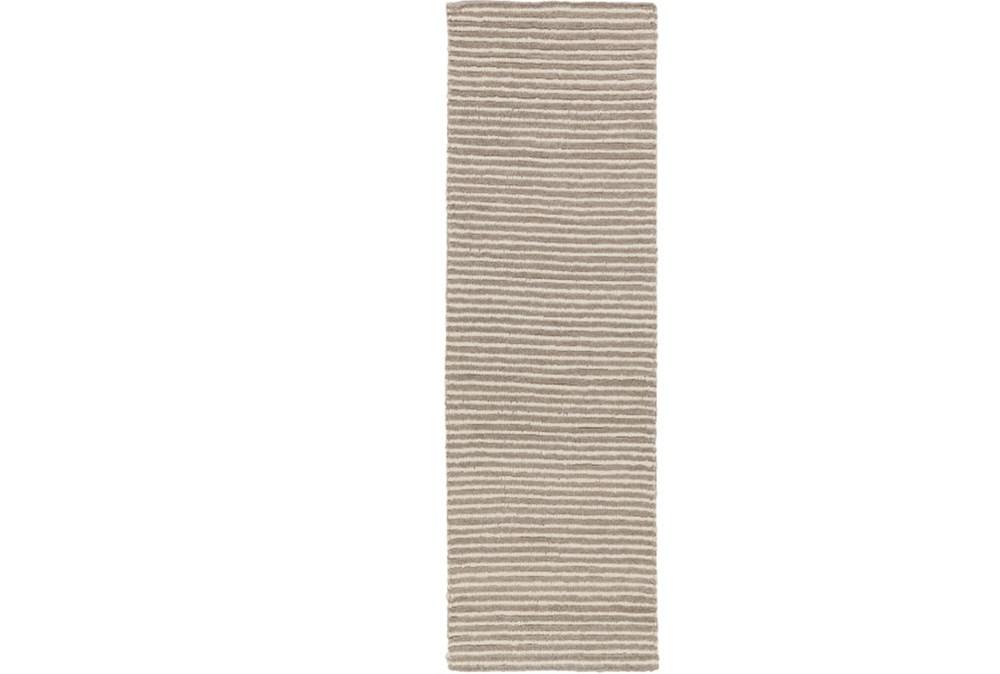30X96 Rug-Felted Wool Stripe Grey