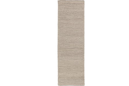 30X96 Rug-Felted Wool Stripe Grey