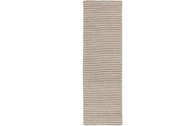 30X96 Rug-Felted Wool Stripe Grey - 360