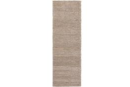30X96 Rug-Felted Wool Stripe Tan