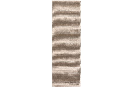 30X96 Rug-Felted Wool Stripe Tan