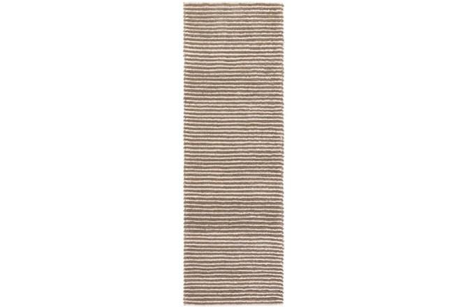 30X96 Rug-Felted Wool Stripe Tan - 360