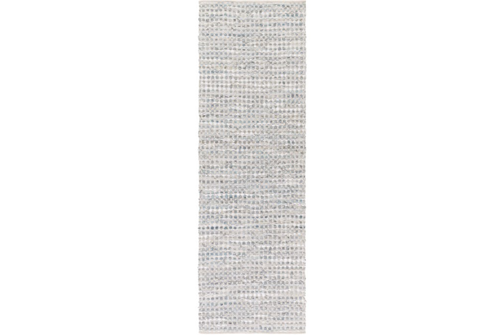 """2'5""""x8' Rug-Leather And Cotton Grid Grey"""