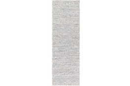 "2'5""x8' Rug-Leather And Cotton Grid Grey"