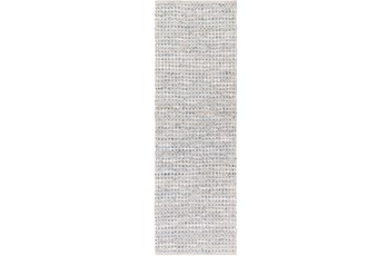 30X96 Rug-Leather And Cotton Grid Grey