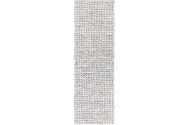 """2'5""""x8' Rug-Leather And Cotton Grid Grey - 360"""