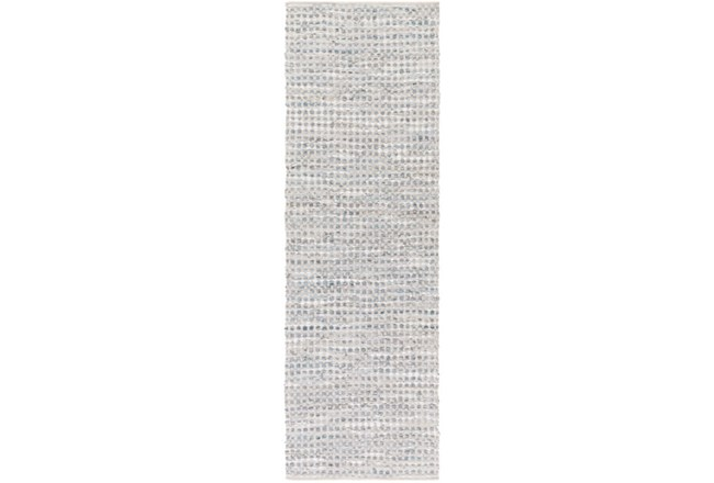30X96 Rug-Leather And Cotton Grid Grey - 360