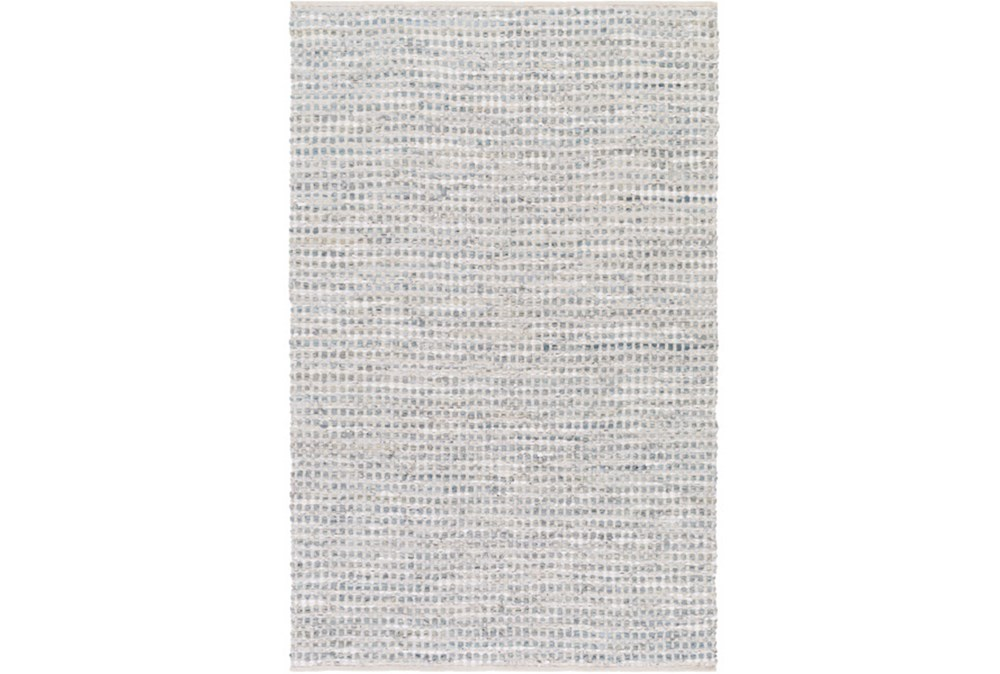 48X72 Rug-Leather And Cotton Grid Grey