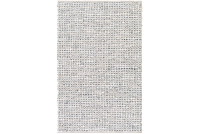 108X156 Rug-Leather And Cotton Grid Grey - 360